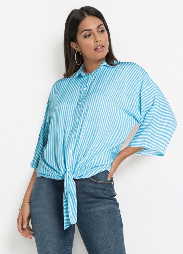 Camisa Mangas Curtas com Nó (Listrada Azul)