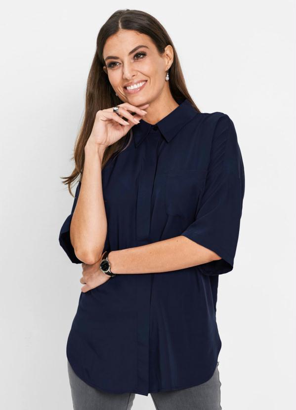 Camisa Oversized (Azul Marinho)