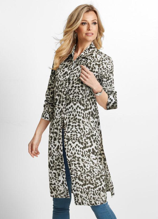Camisa Alongada Animal Print (Bege Onça)