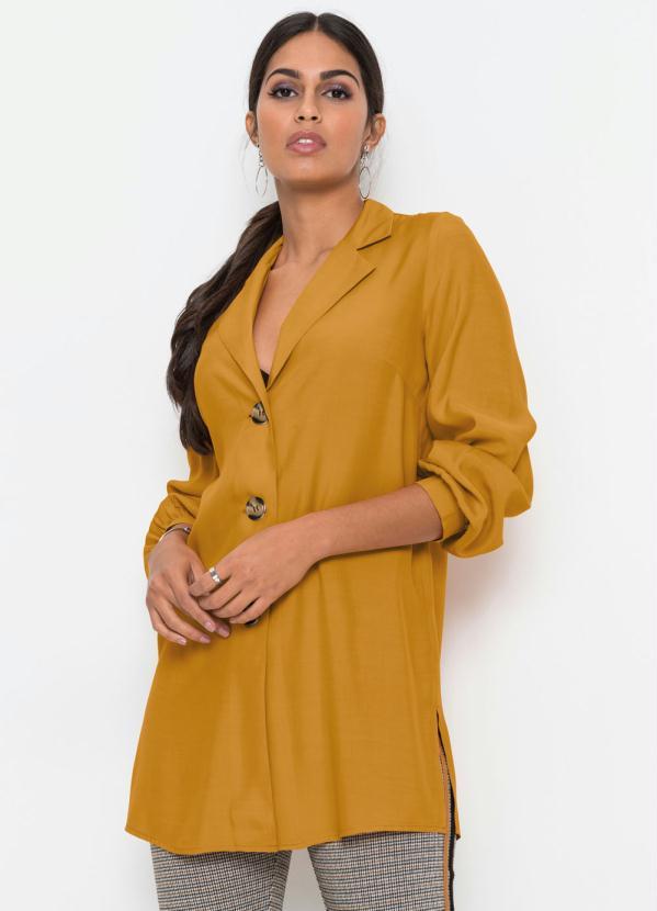 Camisa Alongada com Abotoamento (Amarela Mostarda)