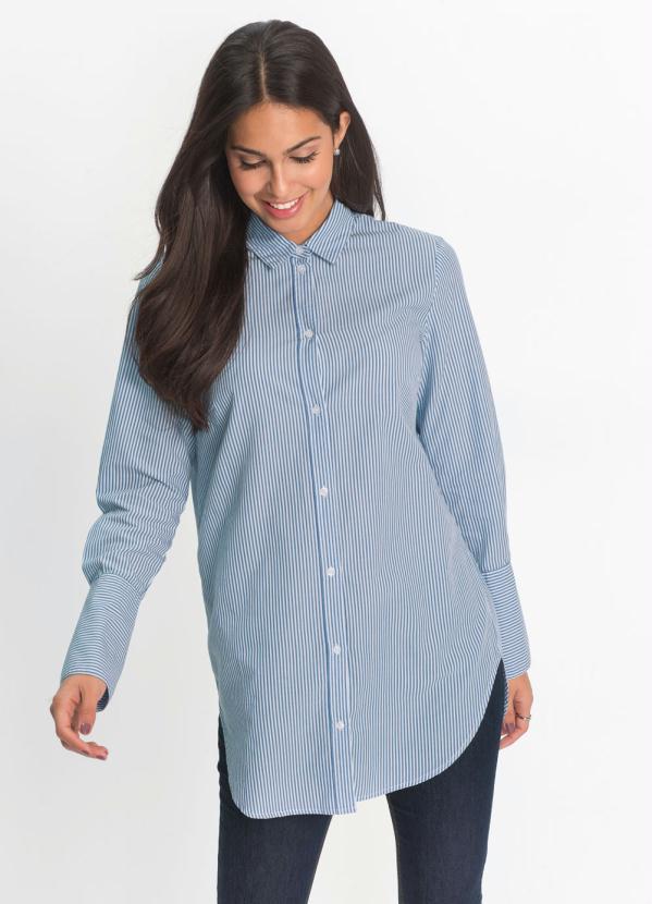 Camisa Alongada Listrada (Azul)