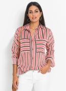 Camisa Ampla com Bolsos Listrada Rosa