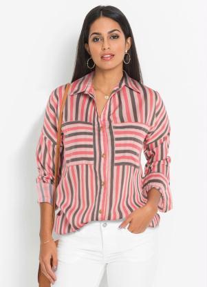 Camisa Ampla com Bolsos (Listrada Rosa)