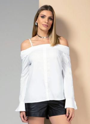 Camisa (Branca) com Decote Reto e Mangas Longas