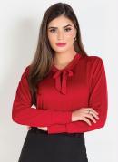 Camisa com Gola Laço Vermelha Moda Evangélica