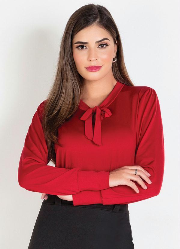 Camisa com Gola Laço (Vermelha) Moda Evangélica