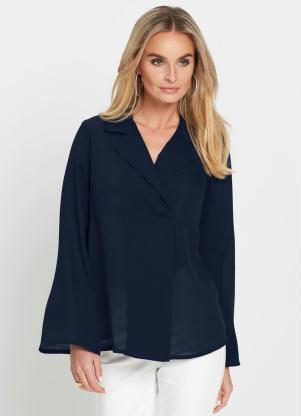 Camisa com Gola Transpassada (Azul)