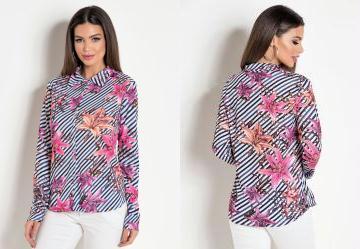 b547e19f21c2 Score: 0.0 Camisa com Mangas Longas Listras/Flores