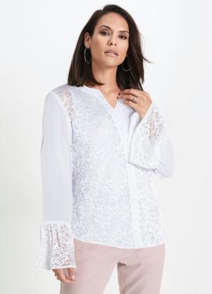 Camisa de Renda com Babado nas Mangas (Branca)