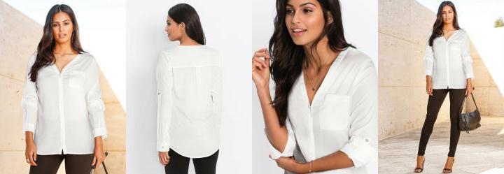 4d36a89ee30c Score: 0.0 Camisa Decote V com Bolso Branca
