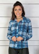 Camisa Feminina Xadrez Azul com Botões Frontais