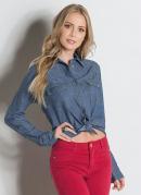 Camisa Sawary Jeans com Bolsos Frontais