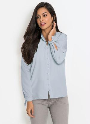Camisa com Botões Frontais (Azul Claro)