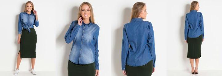 2a2b4f011d Score  0.0 Camisa Jeans Azul com Botões Moda Evangélica