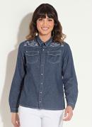 Camisa Jeans Bordada Azul