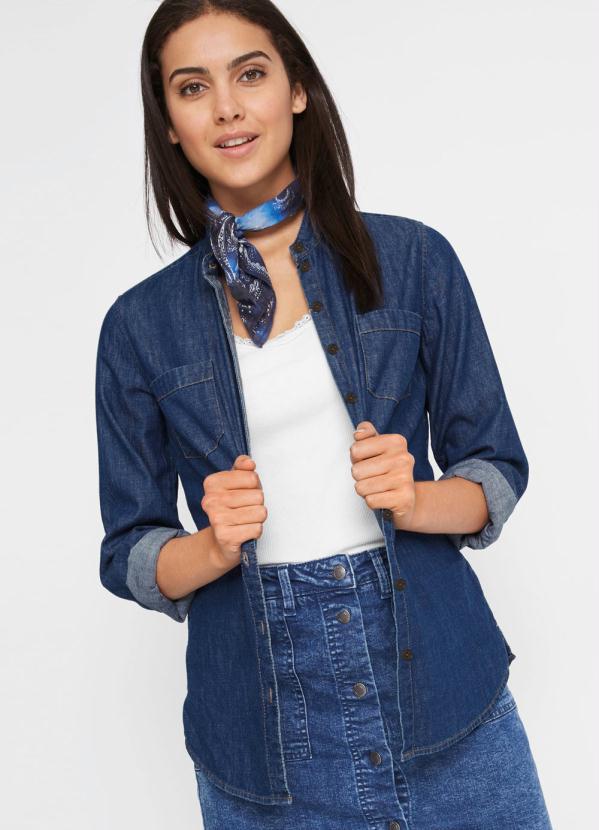 Camisa Jeans Gola Padre (Azul)