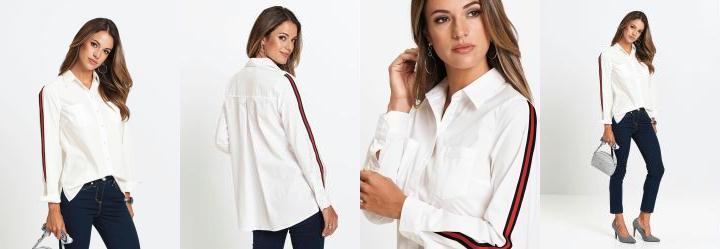 935eb888ec5c Score: 0.0 Camisa com Listras Alongada Branca