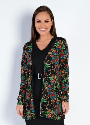 Casaco Alongado (Floral Preto) Moda Evangélica