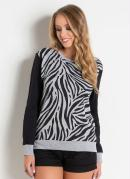 Casaco Estampado Zebra Mescla e Preto