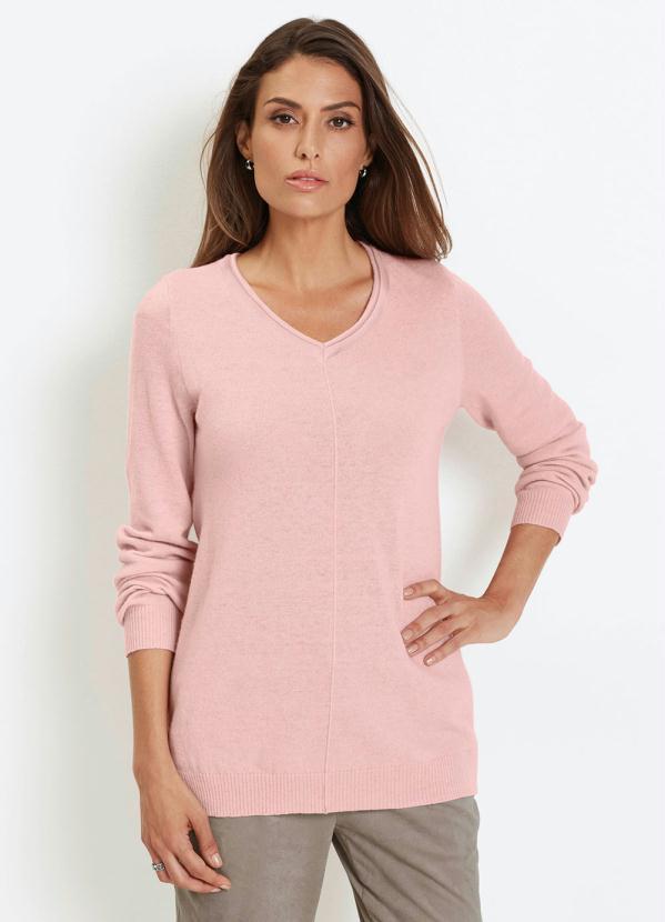 Suéter de Tricô Básico com Nervura (Rosa)