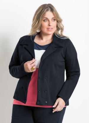 Blazer Feminino Plus Size (Preto)