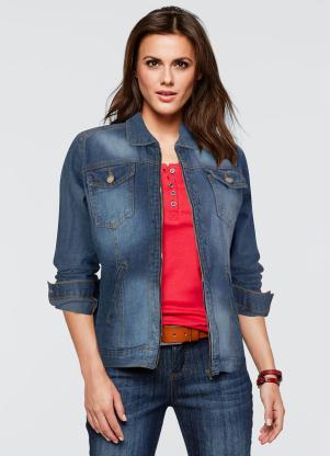 Jaqueta Jeans Acinturada com Zíper (Azul)