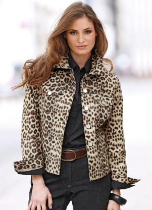 Jaqueta Jeans Animal Print (Estampada Onça Marrom)