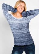 Suéter de Tricô Listrado Mescla Azul