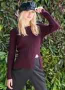 Suéter com Fendas Laterais Vinho
