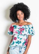 Blusa Ciganinha com Babado Floral