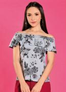 Blusa Ciganinha Floral Mescla com Babado