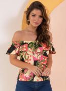 Blusa Floral Étnico com Babados no Decote