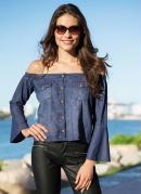 Blusa Jeans Ombro a Ombro Azul Médio