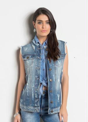 Colete Jeans Sawary Alongado Destroyed (Azul)