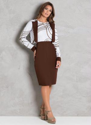Conjunto Vestido e Casaco (Marrom) Moda Evangélica