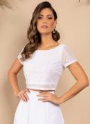 Blusa Cropped Branco Mangas Curtas
