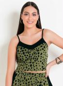 BLUSA CROPPED ESTAMPA ANIMAL PRINT (VERDE)