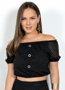 Blusa Cropped Preta Malha Arrastão