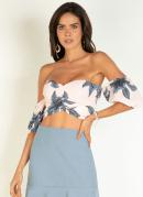 BLUSA (FLORAL AZUL) CROPPED MANGAS BUFANTES