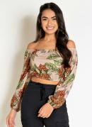 Cropped Floral Bege com Mangas Longas