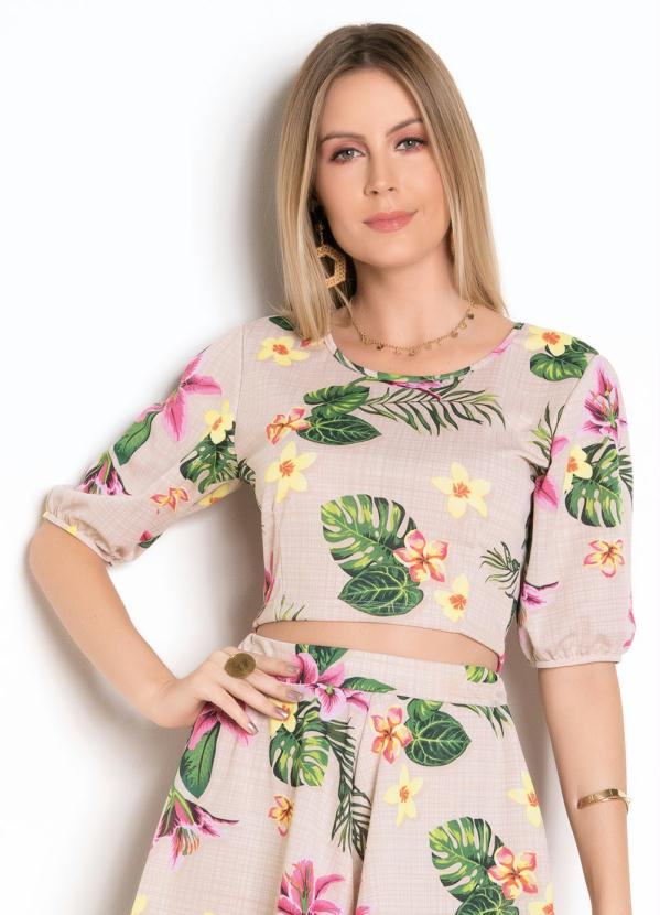 Cropped (Floral) com Mangas Bufantes