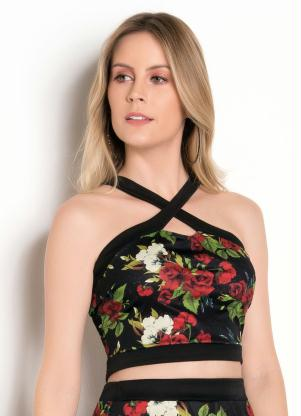 Cropped (Floral Dark) com Transpasse no Decote