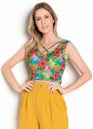 Top Cropped (Floral) com Strappy