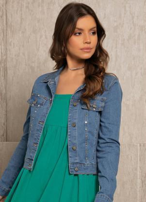 Jaqueta (Azul Jeans) com Detalhes de Tachas