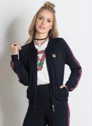 Jaqueta Bomber Miss Masy Preta com Bordado