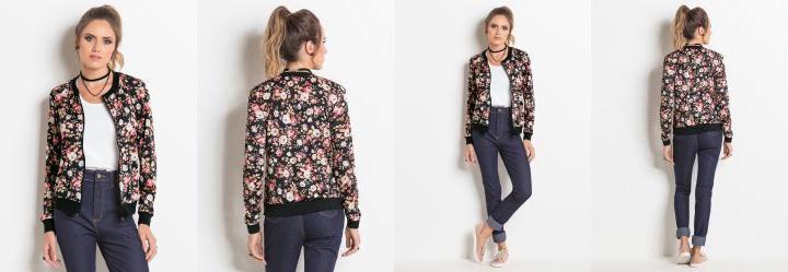 Jaqueta Bomber Preta e Floral