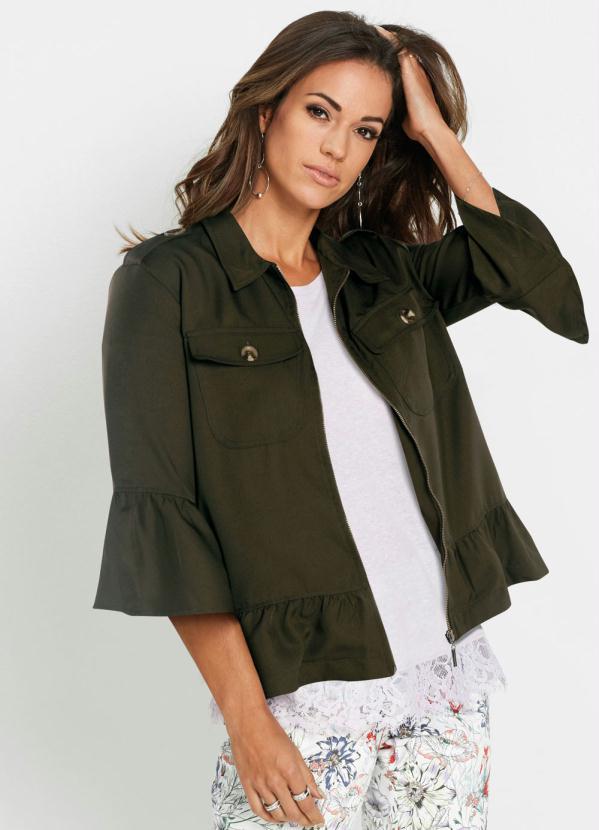 Jaqueta de Sarja com Babados (Verde Militar)