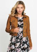 Jaqueta de Sarja Cropped Caramelo