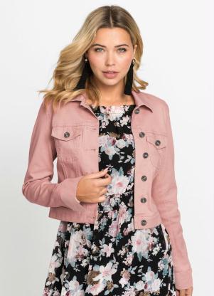 Jaqueta de Sarja Cropped (Rosa Claro)