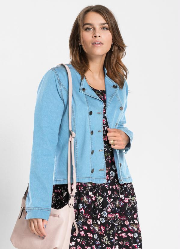 Jaqueta Jeans Abotoamento Duplo (Azul Claro)